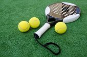 Paddle Tennis Objects On Turf