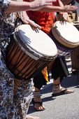 foto of penticton  - Drums played by women in brightly colored clothes Penticton British Columbia Canada - JPG