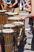 stock photo of penticton  - Drummers playing at a Saturday market Penticton British Columbia Canada - JPG