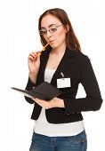 Businesswoman With Notebook Isolated On White