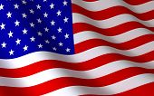stock photo of american flags  - American flag on wind  - JPG
