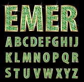 vector golden alphabet with emeralds