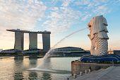 Singapore Modern Landmarks At Dawn