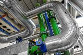 stock photo of gas-pipes  - Large industrial pipes in a thermal power plant - JPG