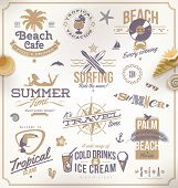 picture of tropical birds  - Vector set of travel and vacation emblems and symbols - JPG