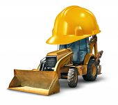 stock photo of excavator  - Construction work safety concept with a Bulldozer truck as a yellow generic excavator wearing a giant hard hat to build roads homes and clear the landscape with heavy dangerous machinery on a white background - JPG
