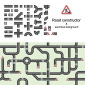Road constructor & seamless background
