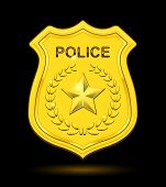 picture of bobbies  - Gold Police Badge isolated on black background - JPG