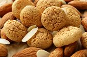 stock photo of biscuits  - small sweet almond cookies biscuits  - JPG
