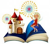 Illustration of a storybook with a castle and a fairy on a white background