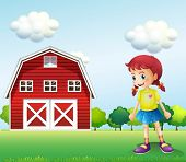 pic of barn house  - Illustration of a little girl in the barn - JPG