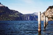 Mooring posts -- Lake Lucerne Switzerland