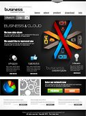 Website template with infographics for corporate business and cloud purposes. Ideal for company blog