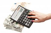 Calculator In Woman's Hands, Money Background