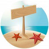 Conceito de viagens. Guidepost na praia com as estrelas do mar