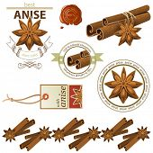 image of cinnamon sticks  - Anise stars and cinnamon sticks set - JPG