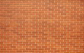 stock photo of brick block  - Large dirty modern red brick wall  - JPG
