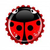 Ladybird bottle cap with condensation drops on separate layer for easy editing. Ladybirds are a symbol of good luck.EPS10 vector format including transparencies and gradients