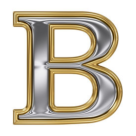 picture of b-double  - Metal silver and gold alphabet letter symbol  - JPG
