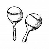 stock photo of maracas  - hand drawn sketch cartoon illustration of maracas - JPG