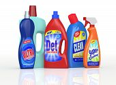 stock photo of disinfection  - set of detergent bottles with labels - JPG