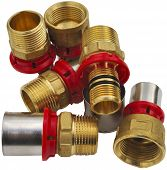 close-up group of valves water system heat