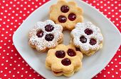 stock photo of linzer  - Traditional Linzer Cookies with sugar and jam - JPG