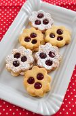 picture of linzer  - Traditional Linzer Cookies with sugar and jam - JPG