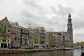 Prinsengracht Street With Western Church In Amsterdam