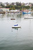 Small White Sailboat In Harbor