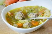 Asian soup with meatballs and vegetables