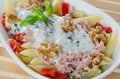 Pasta salad with tuna and walnuts