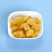 Candied Ginger In White Bowl