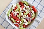 Water Melon Salad with feta, cucumber and red onion