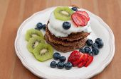 Healthy Oatmeal Pancakes with fresh fruit
