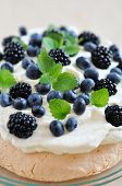 Pavlova with Blueberries and Blackberries