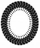 pic of scrollwork  - Black and white intricate oval scrollwork frame for copy space or vintage advertising frame panel - JPG