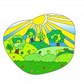 Hand drawn vector landscape with agrarian fields.