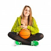 Pretty Young Girl Wearing Urban Style With Basketball