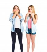 Girls Doing Surprise Gesture Over White Background