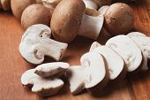 Raw edible portabello mushrooms ready for cooking