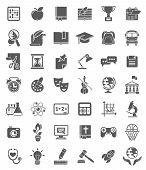 School Icons Dark Silhouettes