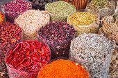 Spices and herbs on the Deira market of Dubai, UAE