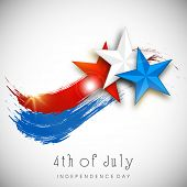 Shiny Stars in American National Flag color on grey background for 4th of July, American Independenc