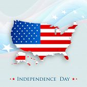 Map of united states on america on stars decorated waves background for American Independence Day ce
