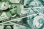 American banknotes and clocks. Time is money concept