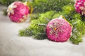 Christmas Tree Bauble With Christmas Tree Branches