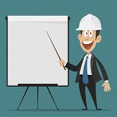 Cheerful builder points to flipchart