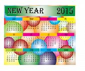 New Year 2015 Colorful Ball Calendar