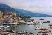 Principality of Monaco, France, on June 30, 2011. The yachts moored in Monaco port. View from a high